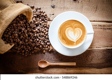 coffee latte with coffee beans
