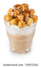 coffee latte with caramel pop corn