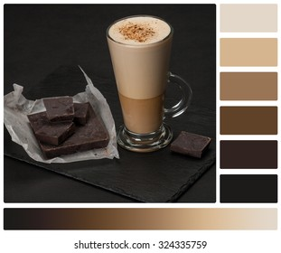 Coffee Latte Or Frappe. Chocolate Chunks. Slate Stone Mat. Palette With Complimentary Colour Swatches.