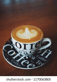Coffee latte in coffee shop cafe