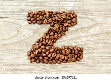 Coffee Letter Z On Wood.