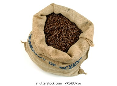 Coffee I love it! Isolated on White Background , Coffee beans in a large Jute Bag, ready to ship