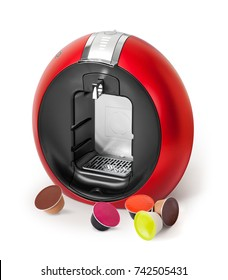 Coffee machine with different coffee capsules on white background.