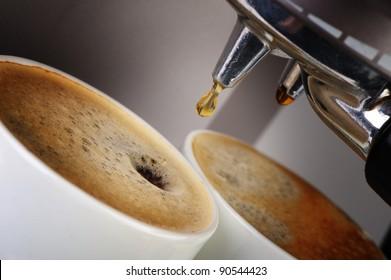 Coffee machine espresso. Process of preparation of coffee. A close up