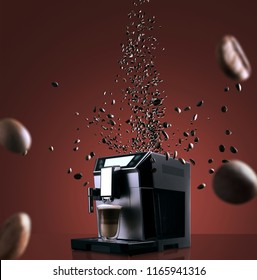 Coffee machine with flying coffee beans