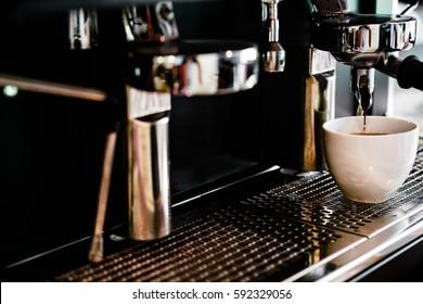 coffee machine making coffee in coffee shop