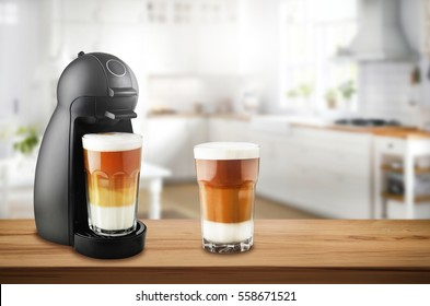 Coffee machine on wooden kitchen table with coffees