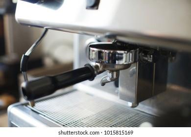 The coffee machine at the coffee shop. Professional coffee machine