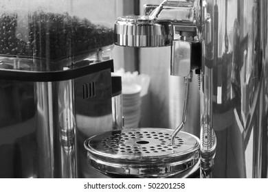 coffee machine in shop ,Professional barista use machine making espresso in a cafe
