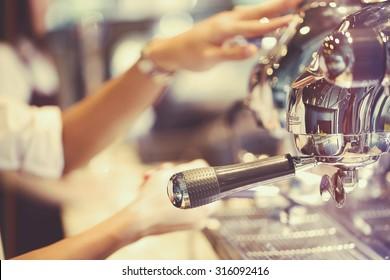 coffee machine in coffee shop ,vintage filer
