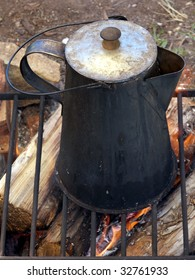 Coffee made the old fashioned way on an open fire