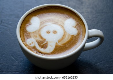 Coffee made with picture of elephant in the froth