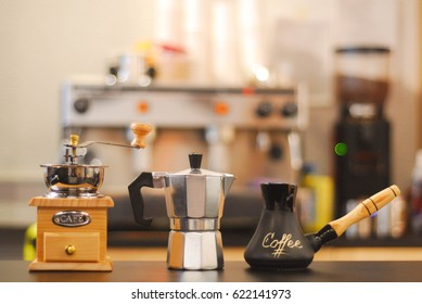 Coffee maker coffee grinder coffee brewing processes
