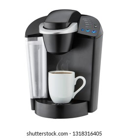Coffee Maker Isolated on White. Black Automatic Espresso Coffee Machine with Cup of Cappuccino. Electric Coffee-Maker. Domestic and Household Kitchen Appliances