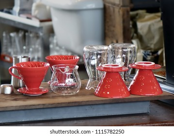 Coffee making filters and glass jars on a counter