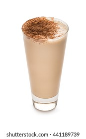 Coffee and milk coctail isolated on a white background