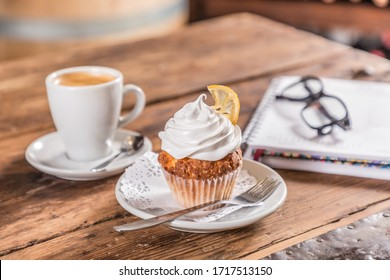 coffee with milk with cupcake note and glasses
