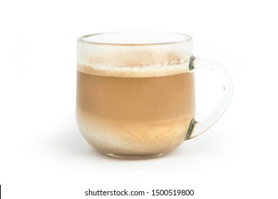 coffee with milk layers, cappuccino  in a glass cup on a white background