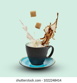 Coffee with milk and sugar