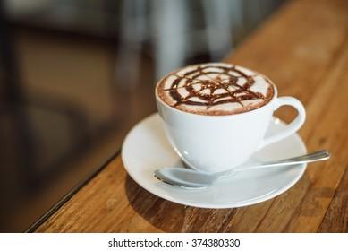 coffee mocha on the wood desk