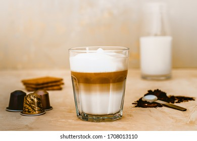 Coffee Mocha Setup with Milk Biscuits and Espresso Capsules