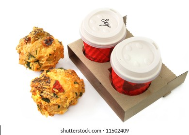 Coffee and muffins to take out.  Breakfast or snack for two.
