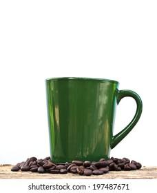 Coffee Mug and coffee bean on Wooden Table