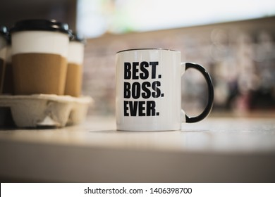 A coffee mug with best boss ever printed on it.