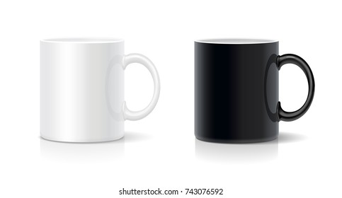 Coffee mug black and white.