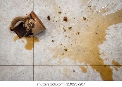 Coffee Mug Broken and Shattered on the Floor
