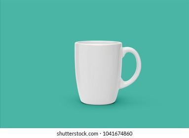 Coffee mug isolated on cyan background
