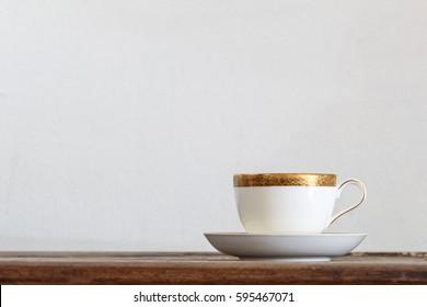 Coffee mug on wooden