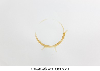 Coffee mug stain on white paper