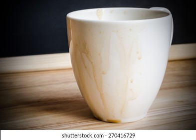 Coffee mug with stains on wooden table