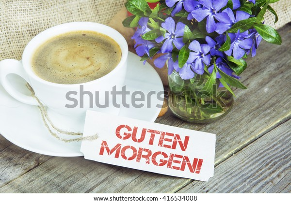 Coffee Mug Vinca Flowers Notes Guten Stock Photo Edit Now