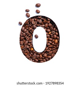 Coffee number zero made of natural organic caffeine beans and paper cut null shape isolated on white. Typeface for cafe