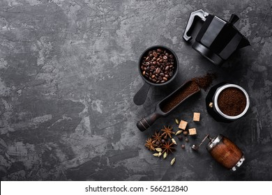 coffee on dark stone background with space for text