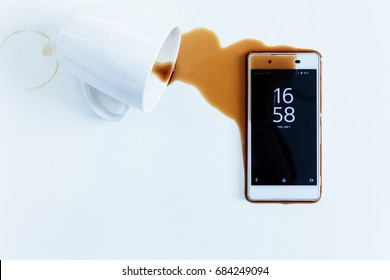 coffee on a waterproof smartphone.