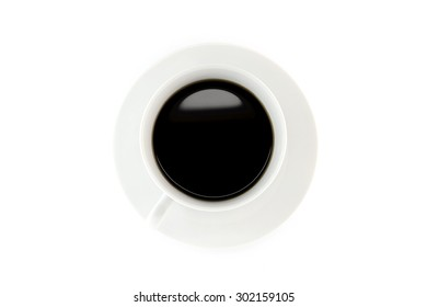 Coffee on white cup with saucer and white background