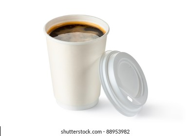 Coffee in opened disposable cup. Isolated on a white.