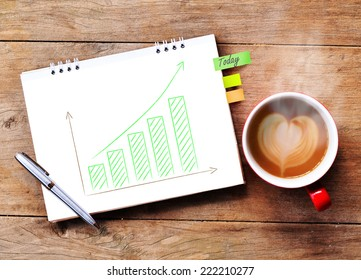 Coffee and paper with business growing green graph