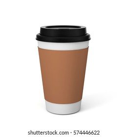 Coffee Paper Hot Cup & Branding Mock-up Realistic Rendering. 3D Illustration
