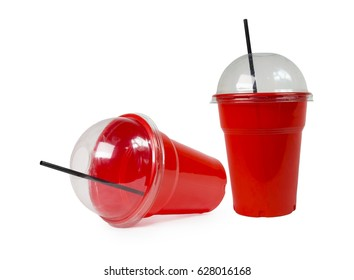 coffee plastic  red cup isolated