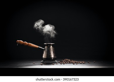 Coffee Pot On Dark Background