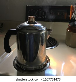 Coffee Pot on Stove with Steam Percolator Brew Java