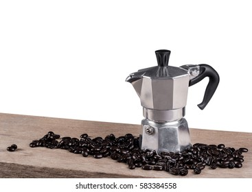 Coffee pot still life on wooden table isolated background (Clipping path)