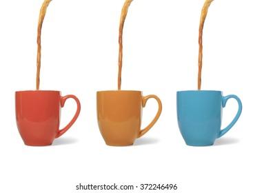Coffee Poured into Three Mugs