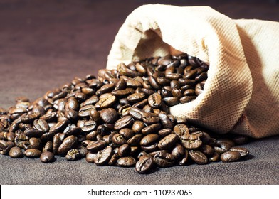 Coffee poured from the sack