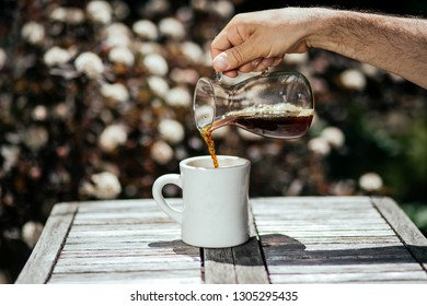 coffee pouring to the cup
