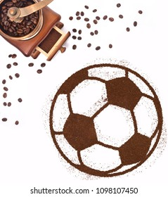 Coffee powder in the shape of a soccer ball and a decorative coffee mill.(series)